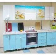 Кухня с пластиковыми фасадами, с фотопечатью