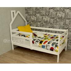 Кровать СОФА-Домик Березка-9 с бортиком МАССИВ дерева 70х140