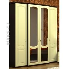Виво-6 Шкаф 4-х створчатый МДФ Шёлк жемчуг